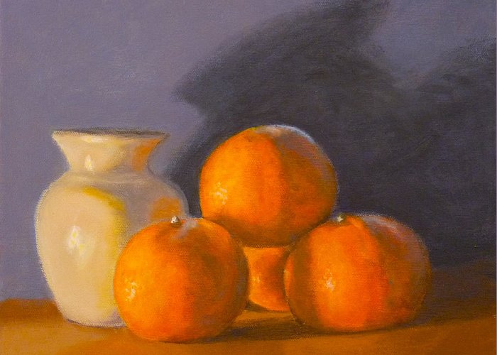 Tangerines Greeting Card featuring the painting Tangerines by Joe Bergholm