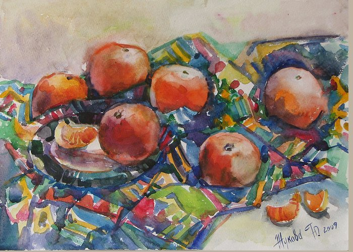 Tangerines Greeting Card featuring the painting Tangerines by Juliya Zhukova