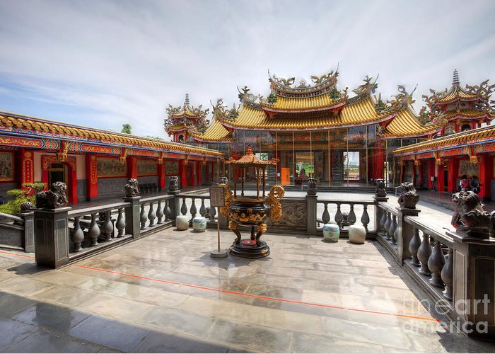 Hdr Greeting Card featuring the photograph Taoist Temple 2 by Tad Kanazaki