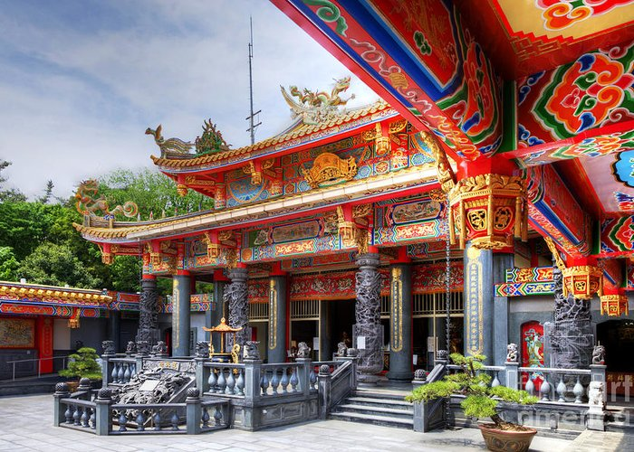 Hrd Greeting Card featuring the photograph Taoist Temple 3 by Tad Kanazaki