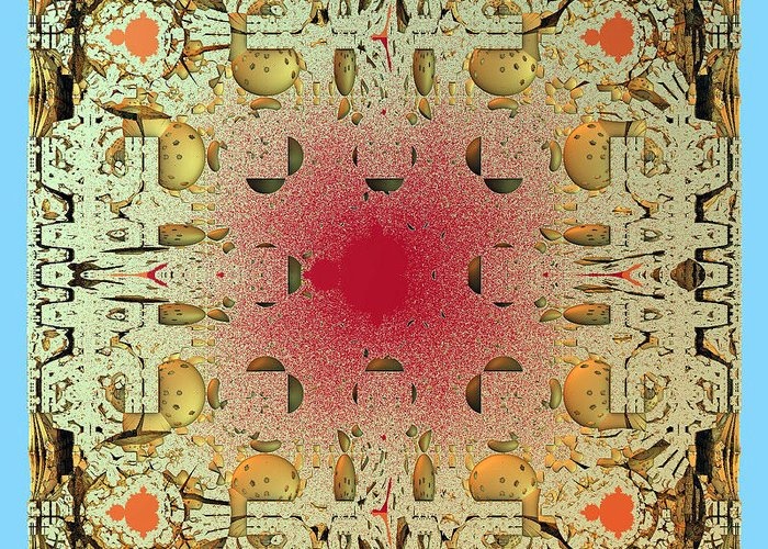 Fractal Greeting Card featuring the digital art Tapestry Mandelbrot by Richard Ortolano