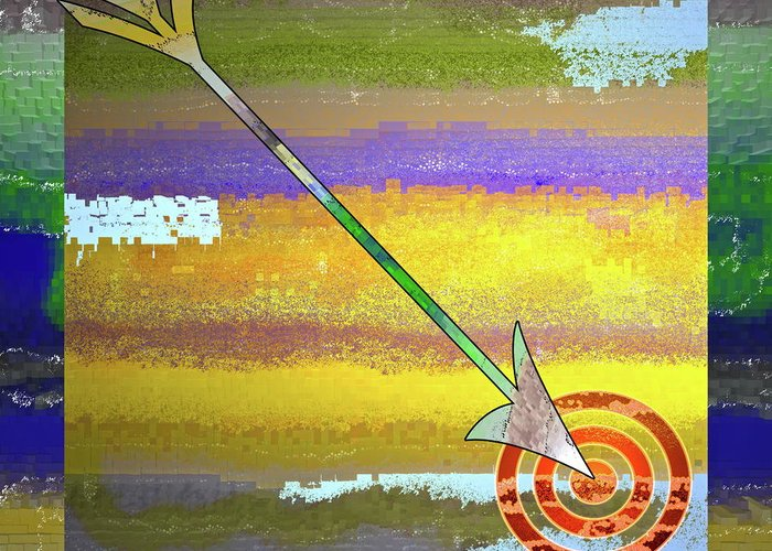 Target Greeting Card featuring the digital art Target by Gwyn Newcombe