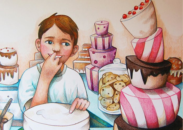 Cake Greeting Card featuring the drawing Tasting The Cake by Nicole McKeever