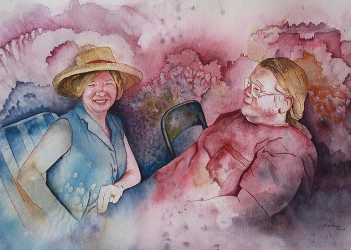 Character Portraits Greeting Card featuring the painting Taylor And Chuck At The Picnic by Patsy Sharpe