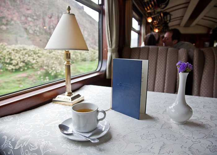 Color Image Greeting Card featuring the photograph Tea Is Served By Peru Rail On The Way by Michael &Amp Jennifer Lewis