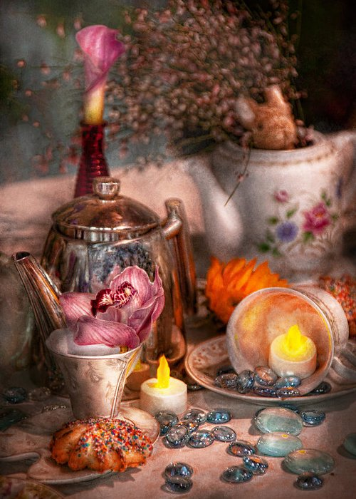 Tea Greeting Card featuring the photograph Tea Party - I Would Love To Have Some Tea by Mike Savad