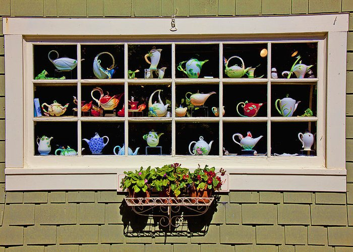 Tea Pots Window Greeting Card featuring the photograph Tea Pots In Window by Garry Gay