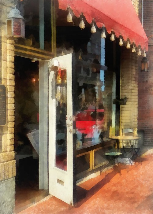 Tea Room Greeting Card featuring the photograph Tea Room In Sono Norwalk Ct by Susan Savad