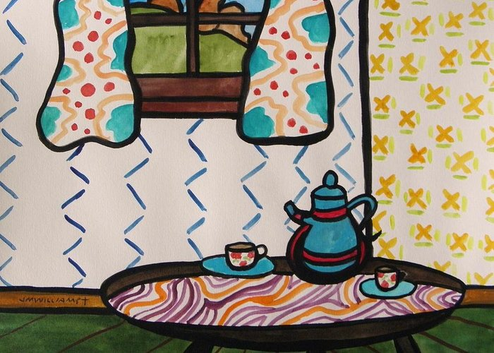 Tea Greeting Card featuring the painting Tea Time by John Williams