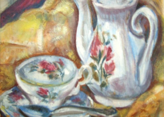 Still Life With Teapot And Teacup Greeting Card featuring the painting Teapot And Teacup by Joseph Sandora Jr