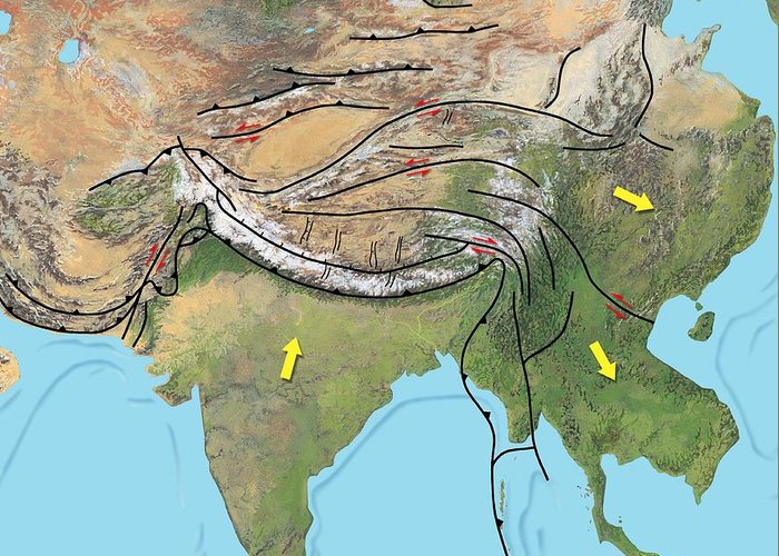 Asia Greeting Card featuring the photograph Tectonic Map Of Asia by Gary Hincks