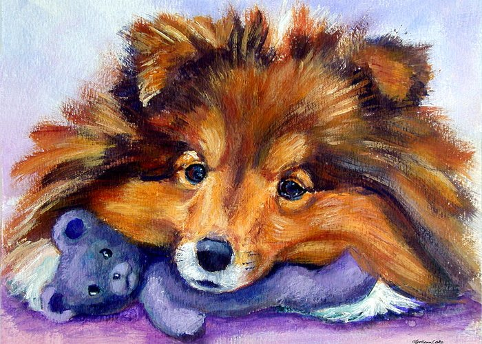 Shetland Sheepdog Greeting Card featuring the painting Teddy Bear Love - Shetland Sheepdog by Lyn Cook