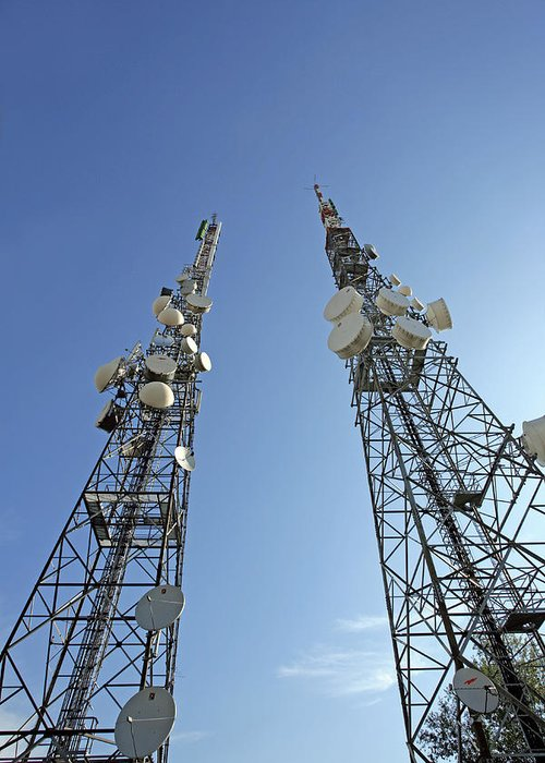 Antenna Greeting Card featuring the photograph Telecommunications Masts by Carlos Dominguez