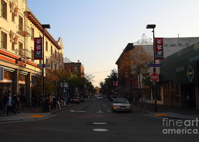 Shop Greeting Card featuring the photograph Telegraph Avenue At Bancroft Way In Berkeley California . 7d10174 by Wingsdomain Art and Photography