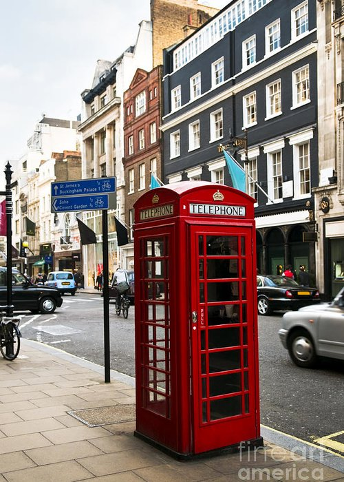 Street Greeting Card featuring the photograph Telephone Box In London by Elena Elisseeva