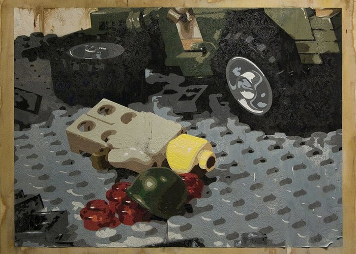 Lego Greeting Card featuring the painting Tellermine Aftermath by Josh Bernstein