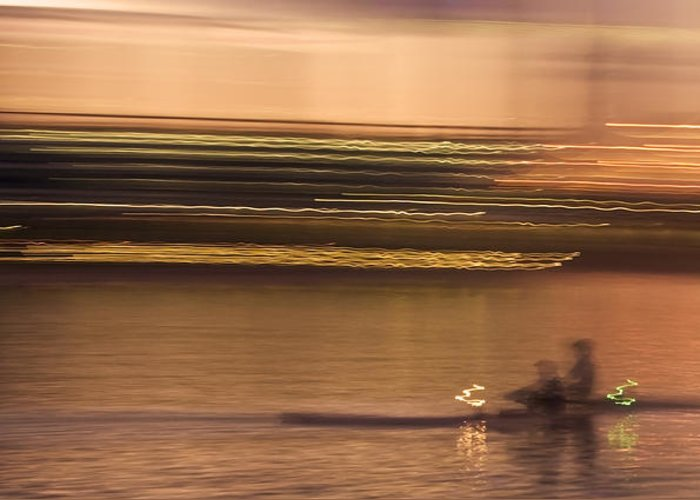 Golden Greeting Card featuring the photograph Tempe Town Lake Rowers Abstract by Dave Dilli