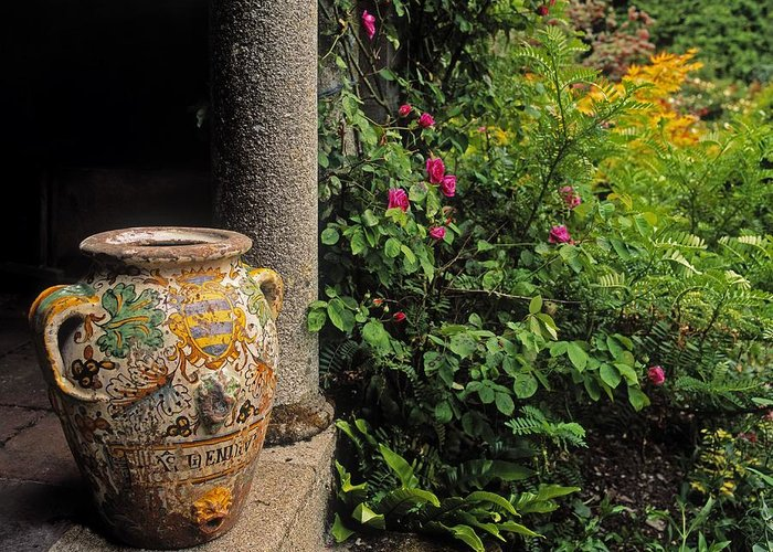 Co Wexford Greeting Card featuring the photograph Temple And Garden Urn, The Wild Garden by The Irish Image Collection
