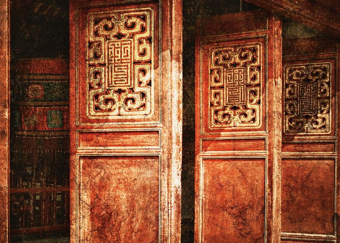 Art Greeting Card featuring the photograph Temple Door by Skip Nall