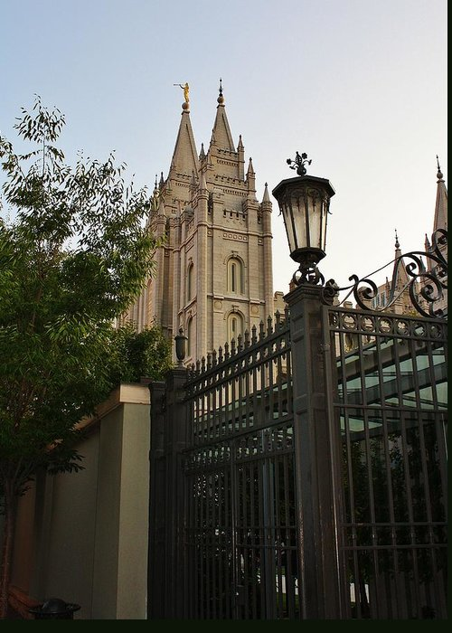 Architecture Greeting Card featuring the photograph Temple Square Grounds by Bruce Bley