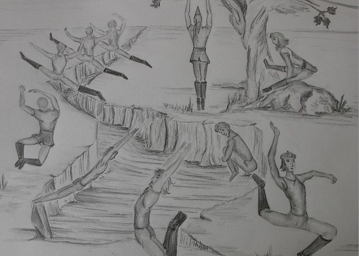 Men Greeting Card featuring the drawing Ten Lords A Leapning by Carol Frances Arthur