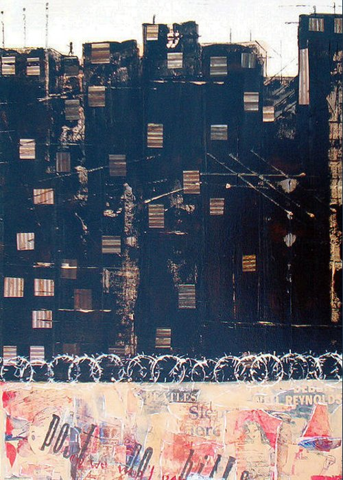 Mixed Media Greeting Card featuring the mixed media Tenement by Jo Roffe