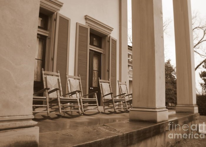 Plantation Porch Greeting Card featuring the photograph Tennessee Plantation Porch by Carol Groenen