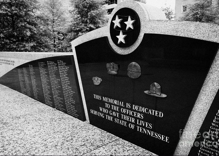 War Greeting Card featuring the photograph tennessee state police officer memorial war memorial plaza Nashville Tennessee USA by Joe Fox