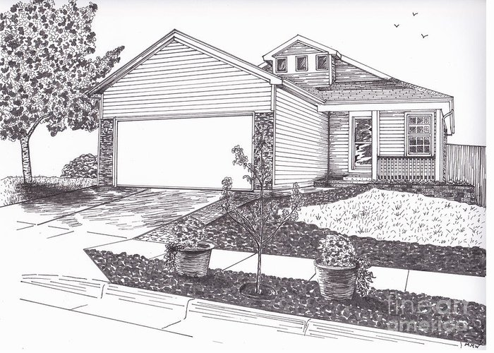 Architectural Art Greeting Card featuring the drawing Teresa's House by Michelle Welles