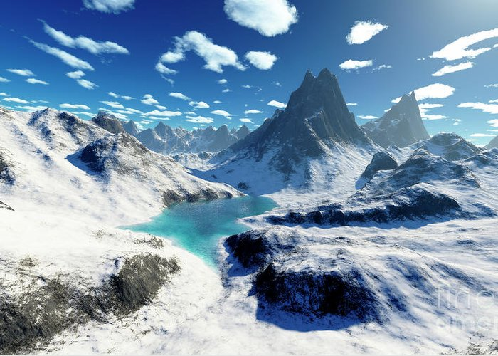 Horizontal Greeting Card featuring the digital art Terragen Render Of An Imaginary by Rhys Taylor