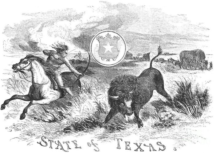 1855 Greeting Card featuring the photograph Texas Scene, 1855 by Granger