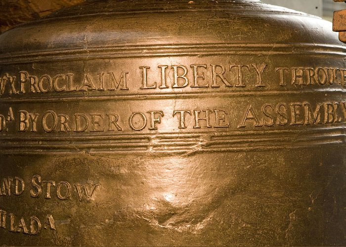 Philadelphia Greeting Card featuring the photograph Text On The Liberty Bell by Tim Laman