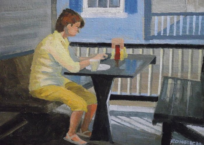Alfresco Dining Greeting Card featuring the painting Texting At Breakfast by Robert Rohrich