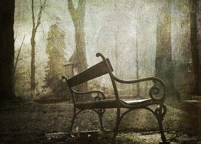 Absence Greeting Card featuring the photograph Textured Bench by Bernard Jaubert