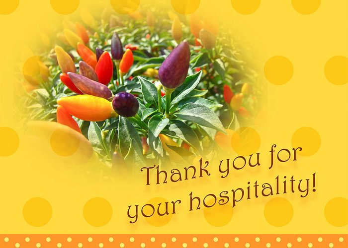 Thank you for your hospitality greeting card decorative pepper thanks greeting card featuring the photograph thank you for your hospitality greeting card decorative pepper m4hsunfo