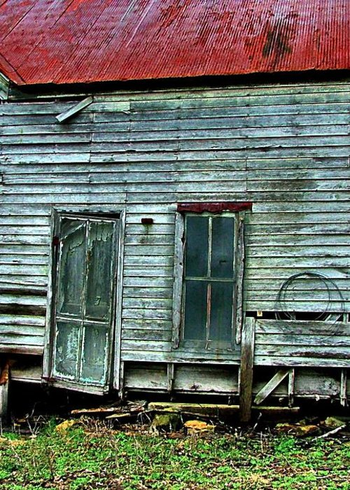 Old Abandoned Houses Greeting Card featuring the photograph That Old House Down By The Creek by Julie Dant