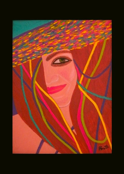 Acrylic Greeting Card featuring the painting That Smile by Anneliese Fritts