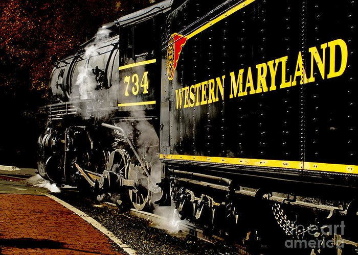 Trains Greeting Card featuring the photograph The 734 by Steven Digman