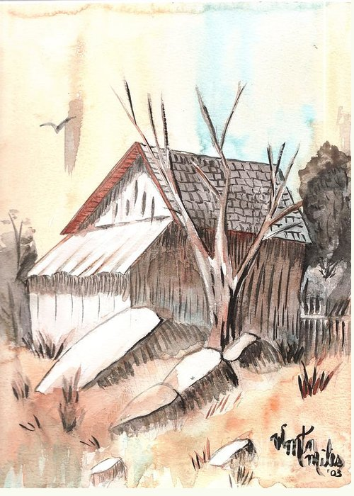 Wood Shed Greeting Card featuring the painting The Abandoned Woodshed by Windy Mountain