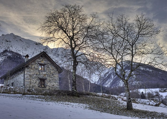 Palagnedra Greeting Card featuring the photograph The Alps In Winter by Joana Kruse