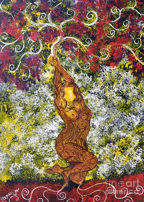 Tree Greeting Card featuring the painting The Angel Tree by Stefan Duncan