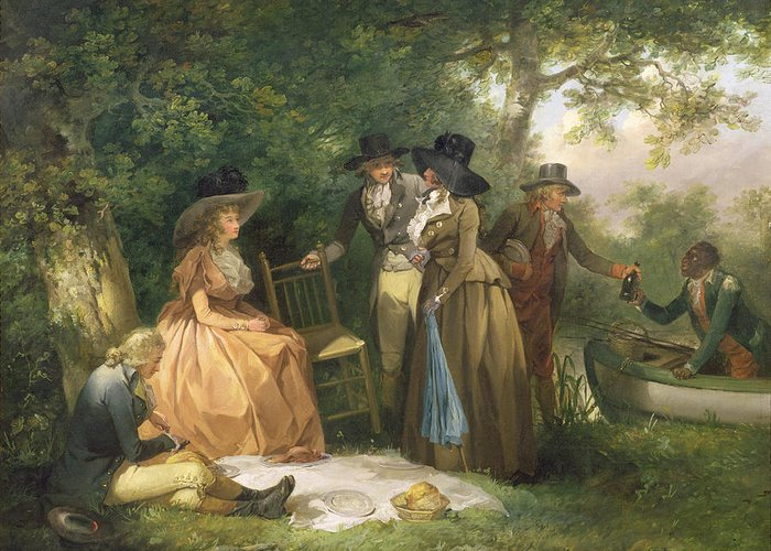 The Greeting Card featuring the painting The Angler's Repast by George Morland