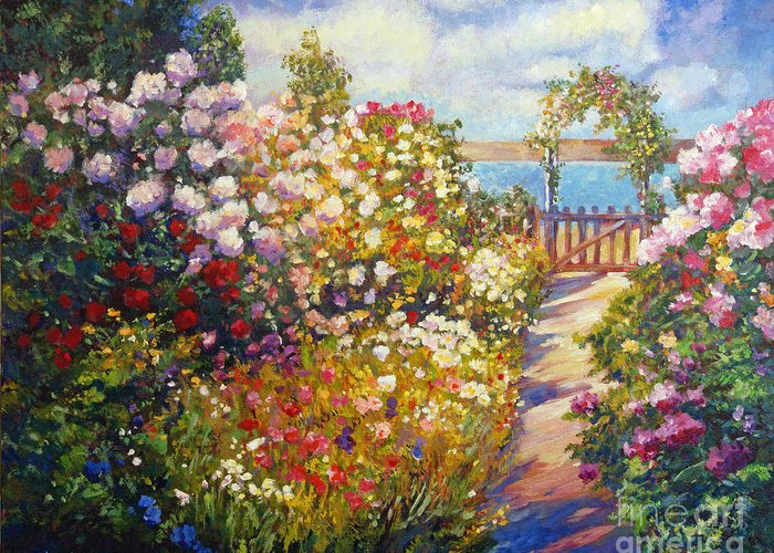 Landscape Greeting Card featuring the painting The Artists Dream Fantasy by David Lloyd Glover