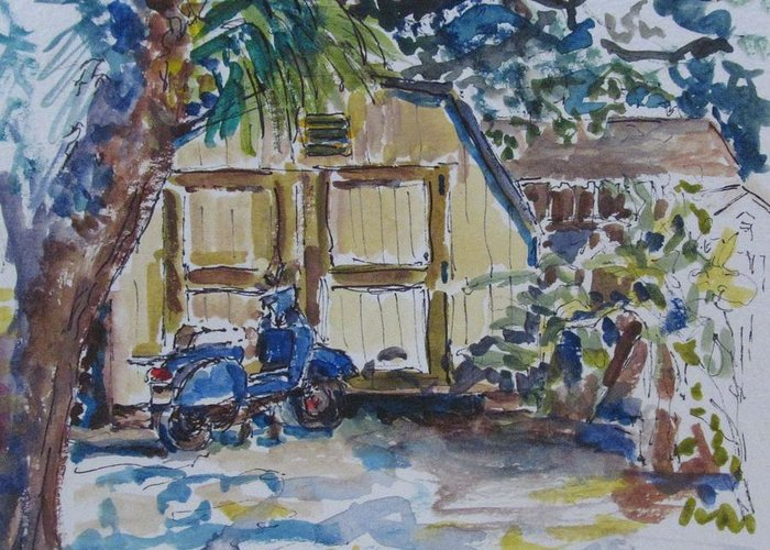 Vespa Greeting Card featuring the painting The Artist's Shed by Kellie Straw