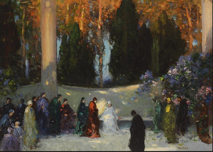 Group; Park; Garden; Waiting; Female Figures; Clearing; Woods; Ceremony; Wooded; Female Cult; Reverence; Homage; Woods Greeting Card featuring the painting The Audience by TE Mostyn
