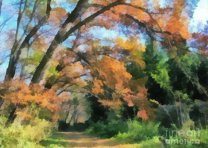 Odon Greeting Card featuring the painting The Autumn Forest by Odon Czintos