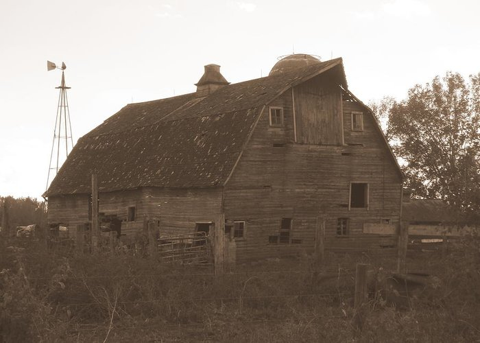 Barn Greeting Card featuring the photograph The Barn 3 B/w by Bonfire Photography