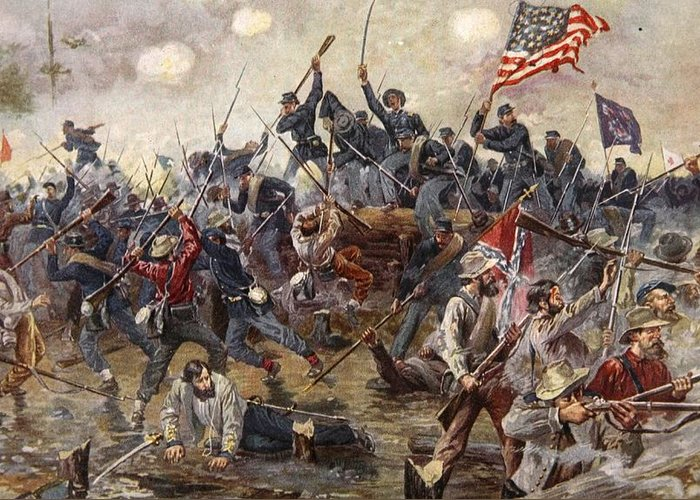 The Battle Of Spotsylvania Greeting Card featuring the painting The Battle Of Spotsylvania by Henry Alexander Ogden