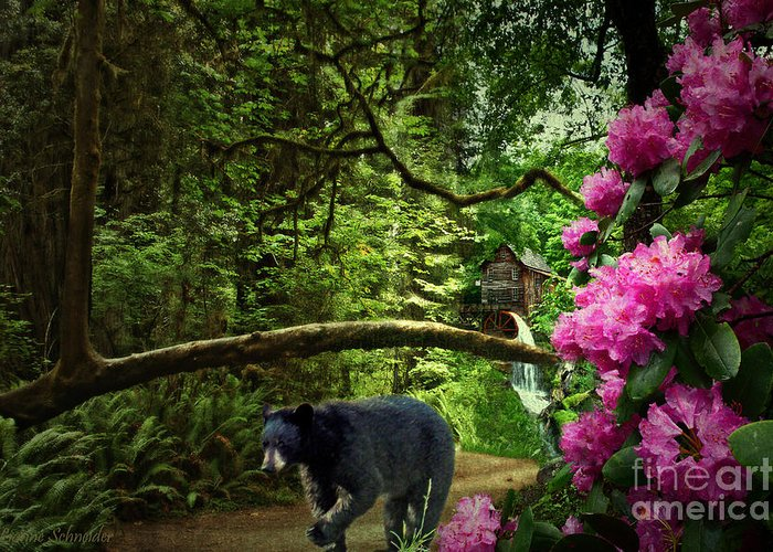 Mountain Greeting Card featuring the digital art The Bear Went Over The Mountain by Lianne Schneider
