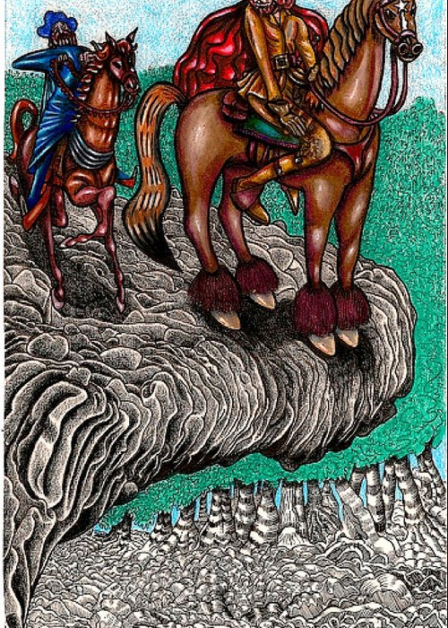 Magic Greeting Card featuring the drawing The Beast And Nahamanides In Shitaki Forest by Al Goldfarb